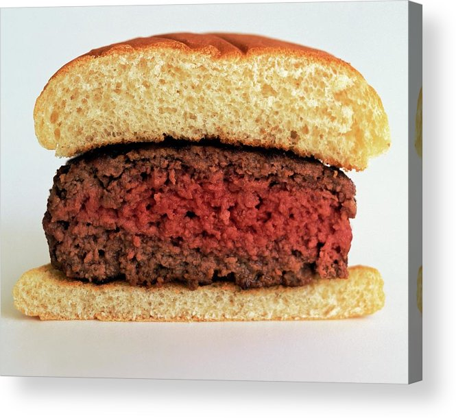 Cooking Acrylic Print featuring the photograph A Rare Hamburger by Romulo Yanes