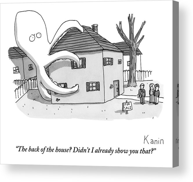 Real Estate Acrylic Print featuring the drawing A Real Estate Agent Tries To Hide From Potential by Zachary Kanin