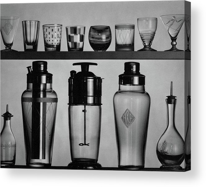 Accessories Acrylic Print featuring the photograph A Row Of Glasses On A Shelf by The 3
