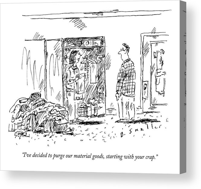 Couple Acrylic Print featuring the drawing A Woman Cleans Out A Closet While Speaking by Barbara Smaller