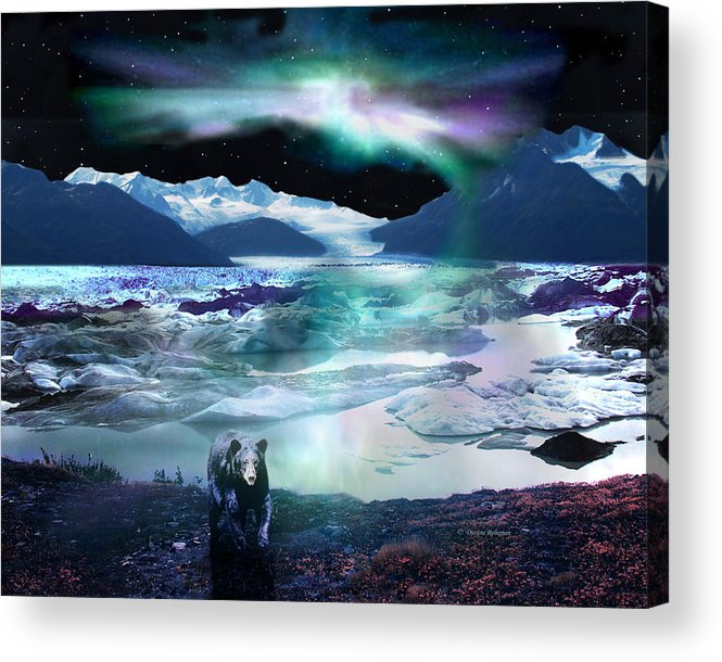 Alaska Acrylic Print featuring the digital art Alaska Aurora Knik Glacier Bear by Dianne Roberson