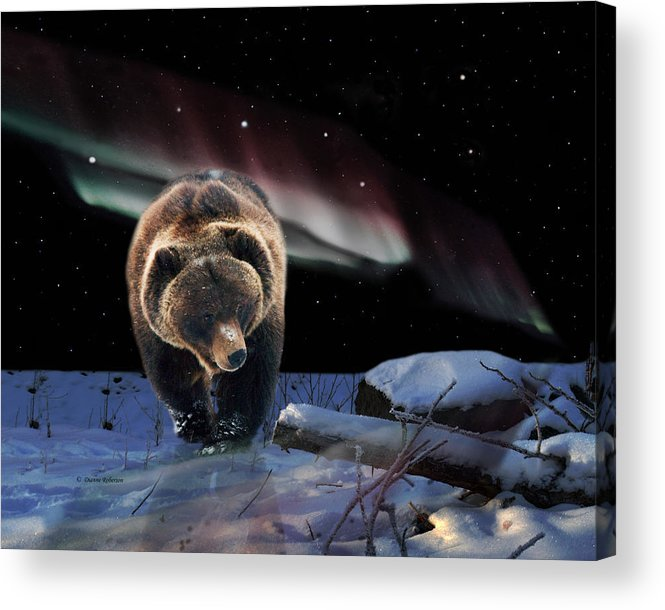 Alaska Acrylic Print featuring the digital art Alaska Aurora Knik River Road Bear # DA 039 by Dianne Roberson