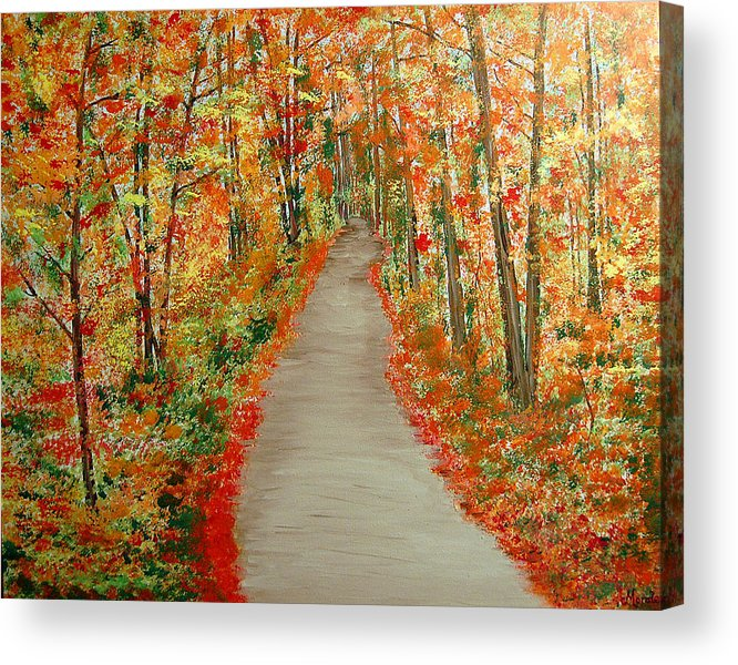 Landscape - Nature Acrylic Print featuring the painting Autumn's moment by Marco Morales