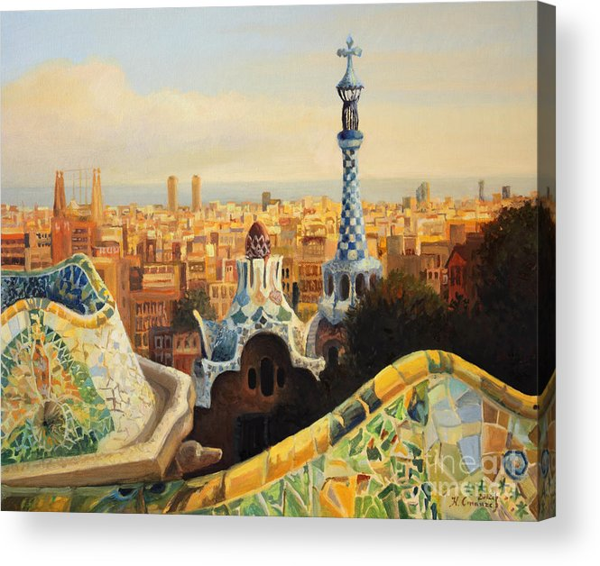 Antoni Gaudi Acrylic Print featuring the painting Barcelona Park Guell by Kiril Stanchev