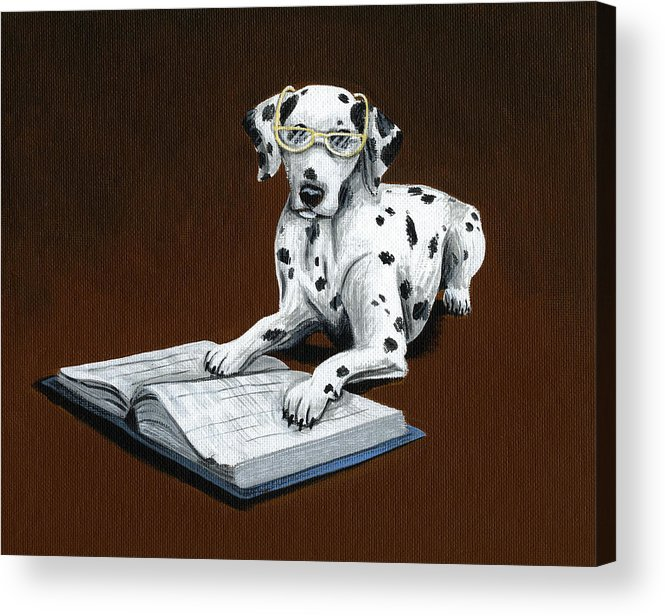 Dalmatian Acrylic Print featuring the painting Book worm...Dog Art Painting by Amy Giacomelli