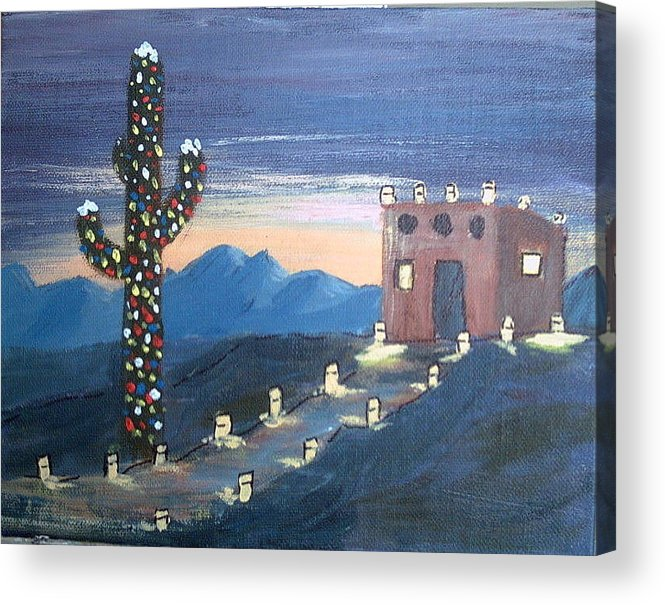 Christmas Acrylic Print featuring the mixed media Christmas in AZ by Judi Pence