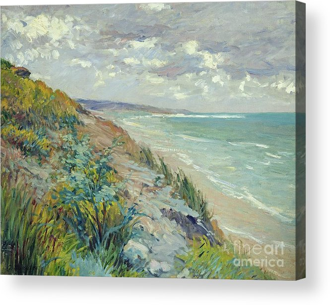 Beach Acrylic Print featuring the painting Cliffs by the sea at Trouville by Gustave Caillebotte