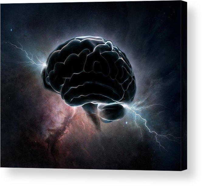 Brain Acrylic Print featuring the digital art Cosmic Intelligence by Johan Swanepoel
