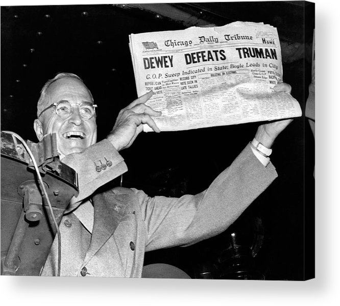 Dewey Defeats Truman Newspaper Acrylic Print by Underwood Archives