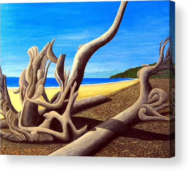 Landscape Artwork Acrylic Print featuring the painting Driftwood - Nature's Artwork by Frederic Kohli