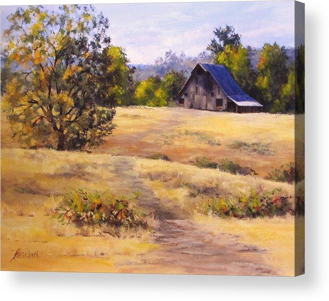 Landscape Acrylic Print featuring the painting Edge of Autumn by Karen Ilari