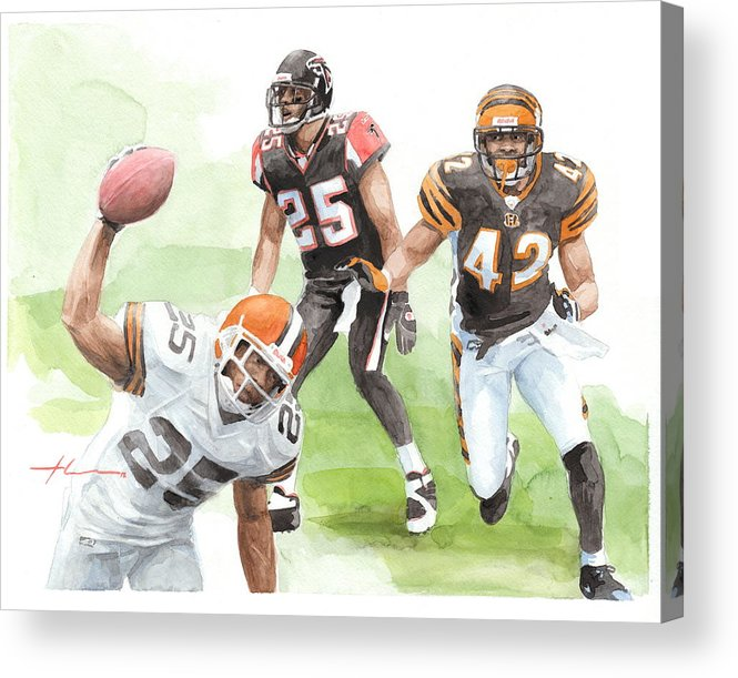 <a Href=http://miketheuer.com Target =_blank>www.miketheuer.com</a> Falcons Bengals Football Watercolor Portrait Acrylic Print featuring the drawing Falcons Bengals Football Watercolor Portrait by Mike Theuer