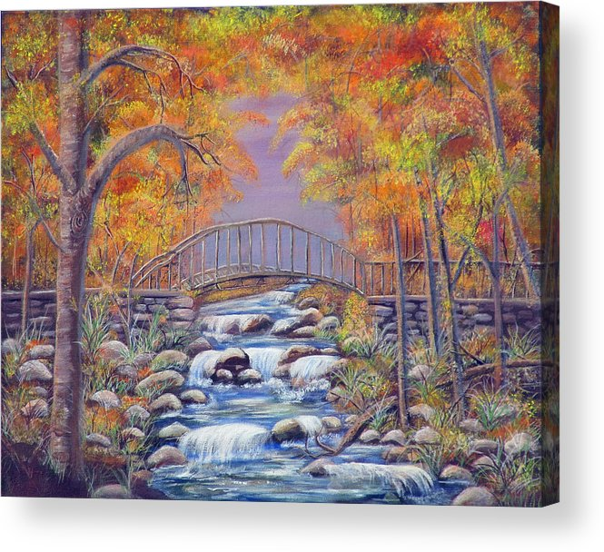 Autumn Acrylic Print featuring the painting Fall Falling by Mikki Alhart