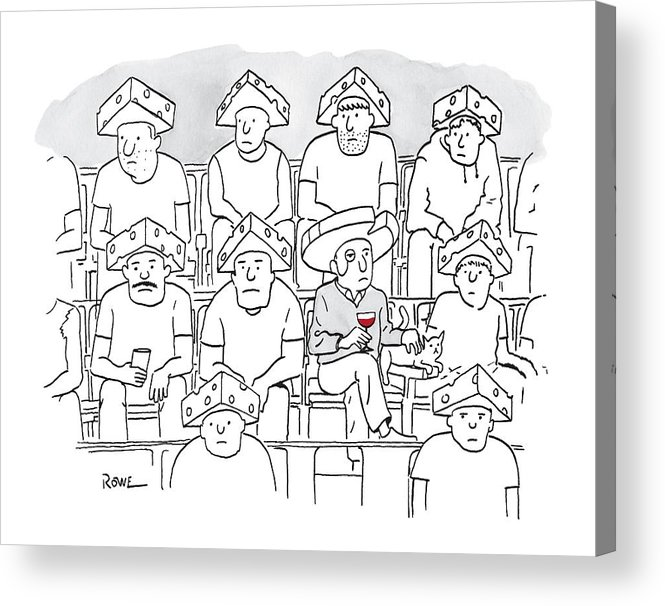Captionless Acrylic Print featuring the drawing Fans At A Football Game Sit In The Stands Wearing by Julian Rowe