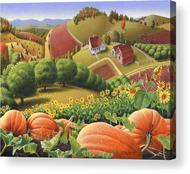 Pumpkin Acrylic Print featuring the painting Farm Landscape - Autumn Rural Country Pumpkins Folk Art - Appalachian Americana - Fall Pumpkin Patch by Walt Curlee