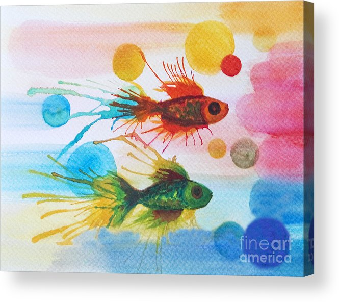 Fish Acrylic Print featuring the painting Fish Finale by Angelique Bowman
