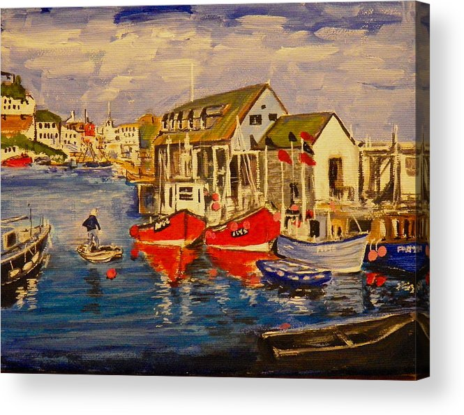 Seascape Acrylic Print featuring the painting Fishing Boats by Jim Reale
