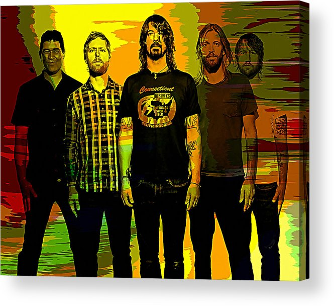 Foo Fighters Paintings Acrylic Print featuring the mixed media Foo Fighters by Marvin Blaine