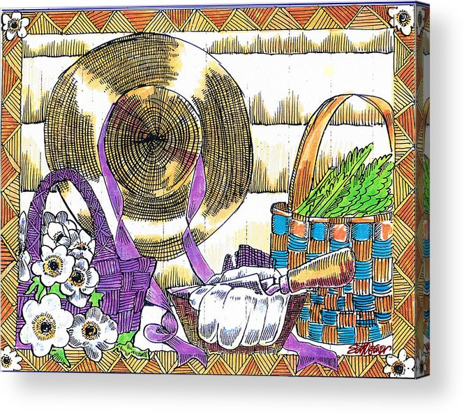 Gardener's Basket Acrylic Print featuring the drawing Gardener's Basket by Seth Weaver