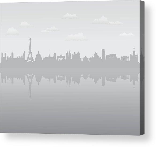 Clock Tower Acrylic Print featuring the digital art Grey Europe by Leontura
