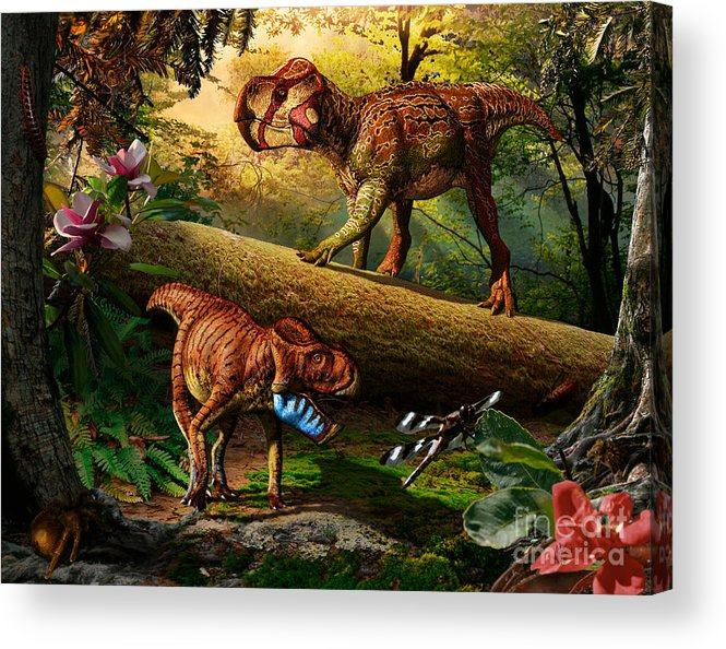 Gryphoceratops Acrylic Print featuring the digital art Gryphoceratops and Unescoceratops by Julius Csotonyi