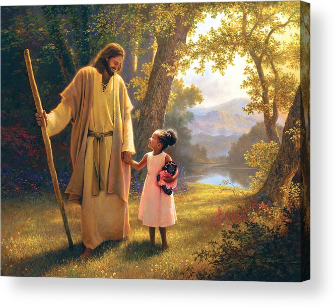 Jesus Acrylic Print featuring the painting Hand in Hand by Greg Olsen