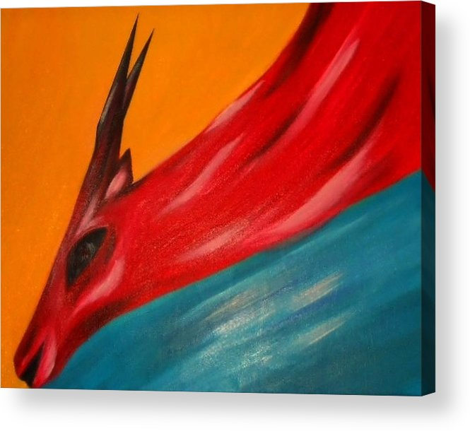 Nature Acrylic Print featuring the painting Impala in red by Joseph Ferguson