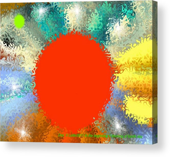 Creation Acrylic Print featuring the digital art In the beginning 4. Morning of fourth day by Dr Loifer Vladimir
