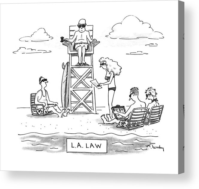 Law Acrylic Print featuring the drawing L.a. Law by Mike Twohy