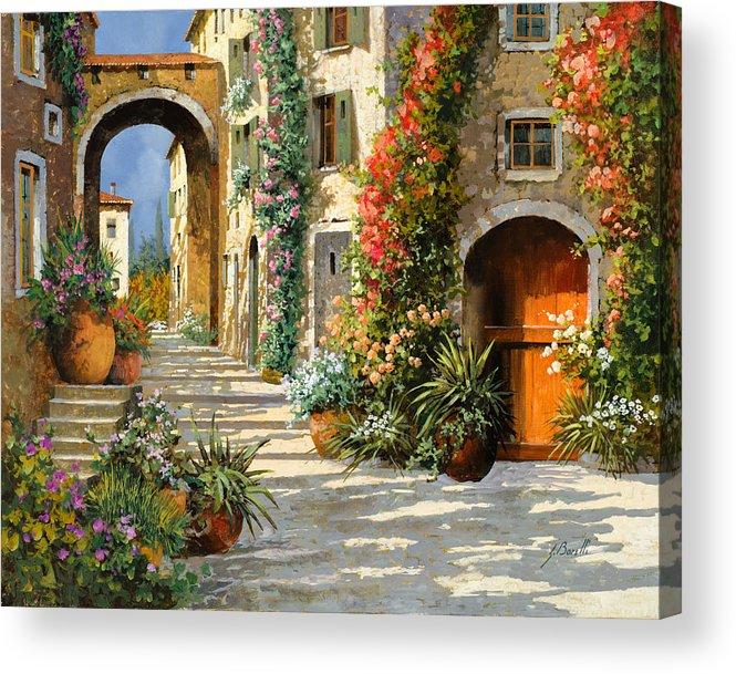 Landscape Acrylic Print featuring the painting La Porta Rossa Sulla Salita by Guido Borelli