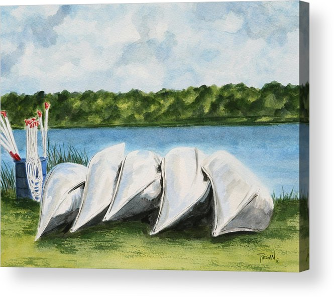 Canoes Acrylic Print featuring the painting Lazy River by Regan J Smith