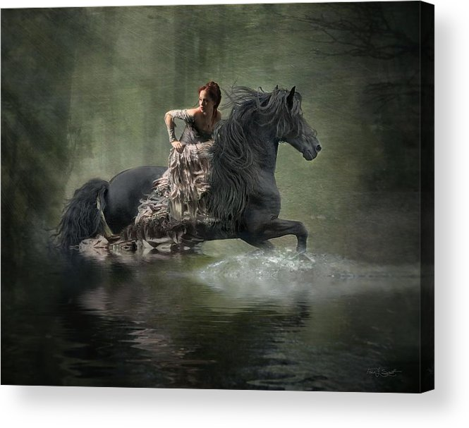 Girl Fleeing On Horse Acrylic Print featuring the photograph Liberated by Fran J Scott