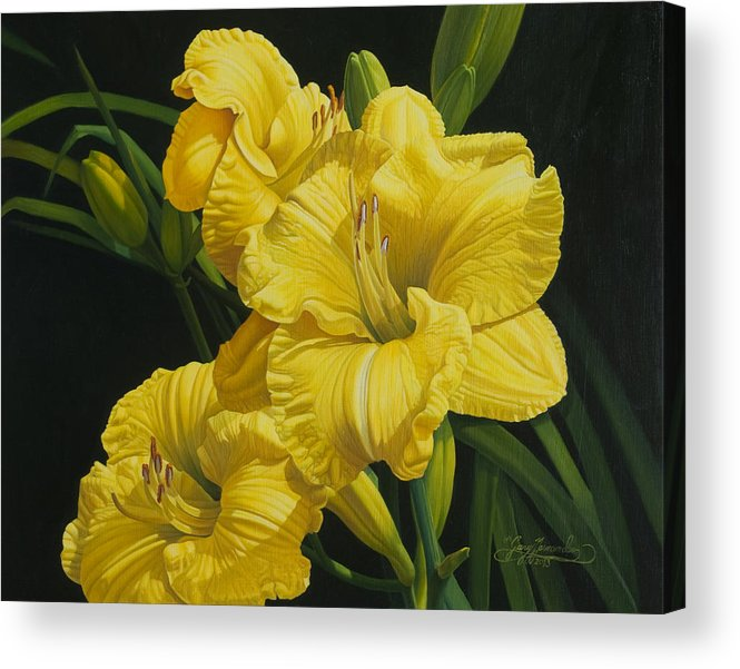 Floral Acrylic Print featuring the painting Lilies for Olivia Rose by Gary Hernandez