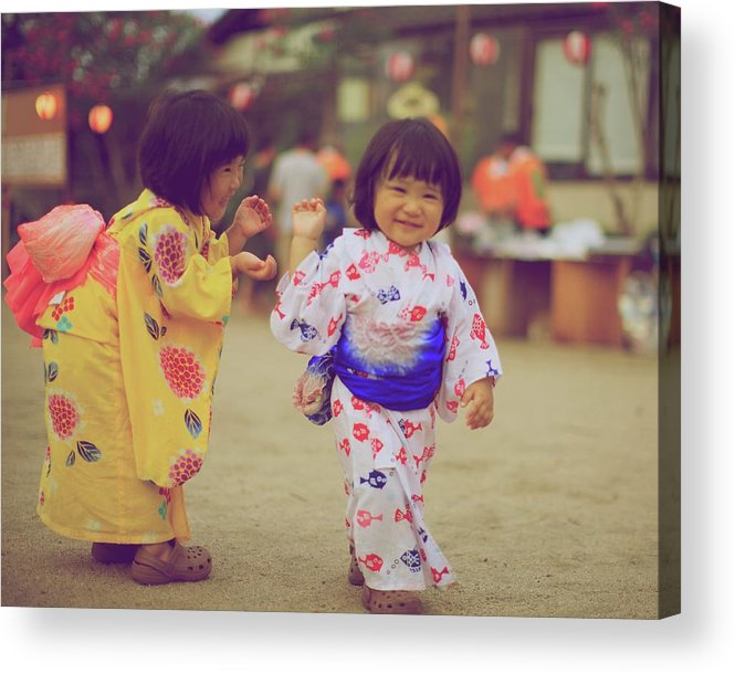 Tottori Prefecture Acrylic Print featuring the photograph Little Girls At A Festival by Marvin Fox