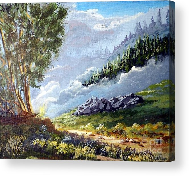 Path Acrylic Print featuring the painting Low Clouds lifting by John Wise