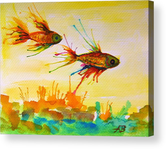 Fish Acrylic Print featuring the painting Lucky Charms by Angelique Bowman