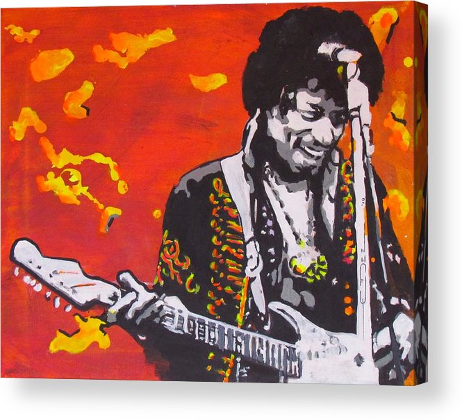 Jimi Hendrix Acrylic Print featuring the painting Marmalade Skies by Eric Dee