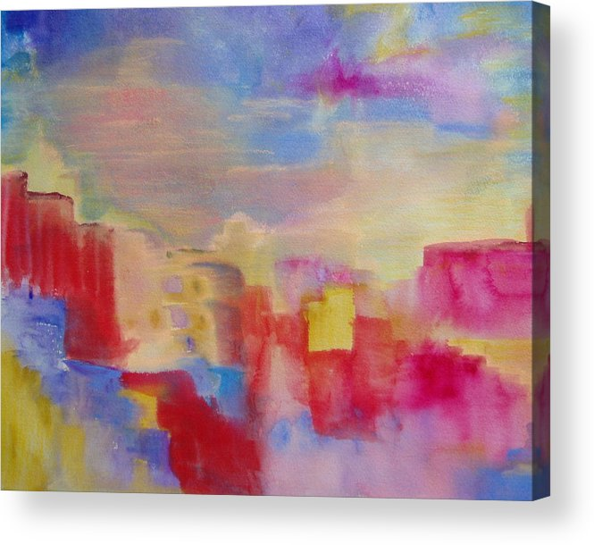Watercolor Acrylic Print featuring the painting Mesa by Phoenix Simpson