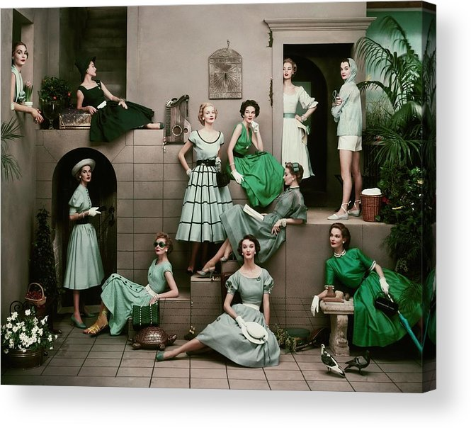 Accessories Acrylic Print featuring the photograph Models In Various Green Dresses by Frances Mclaughlin-Gill