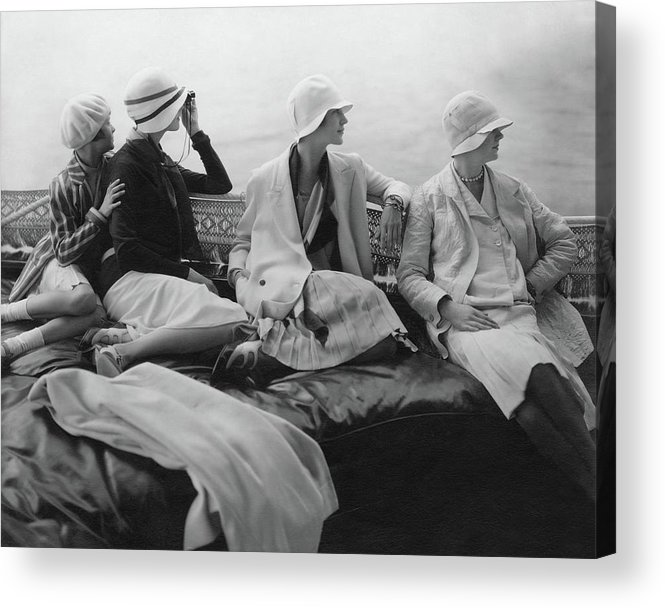 Accessories Acrylic Print featuring the photograph Models On A Yacht by Edward Steichen