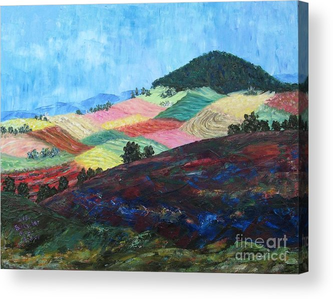 Landscape Acrylic Print featuring the painting Mole Hill Patchwork - SOLD by Judith Espinoza