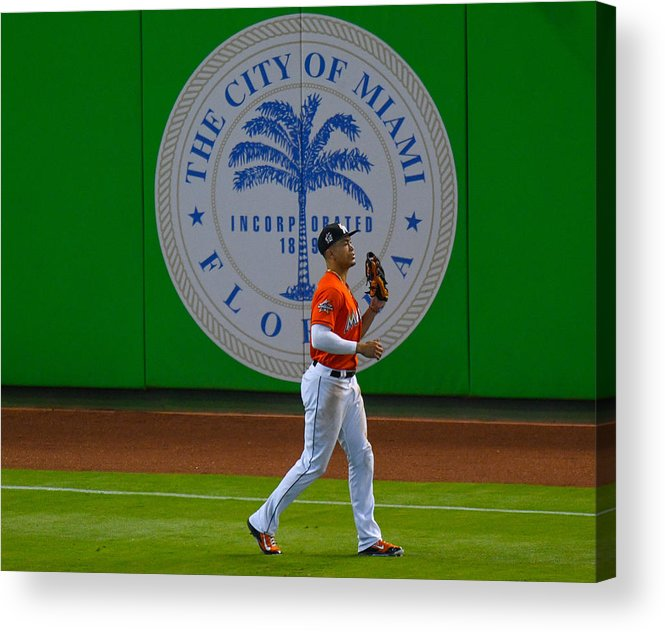 People Acrylic Print featuring the photograph New York Mets V Miami Marlins by Mark Brown