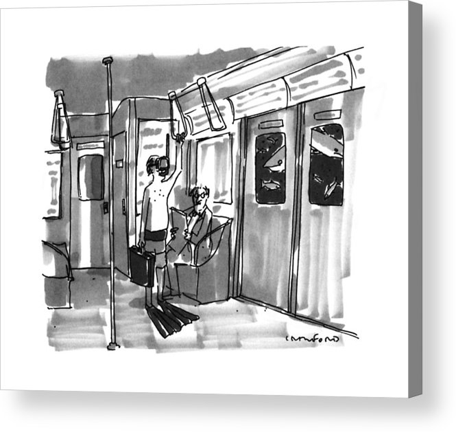 No Caption Acrylic Print featuring the drawing New Yorker August 14th, 1995 by Michael Crawford