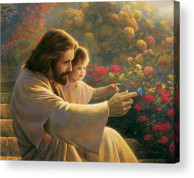 Jesus Acrylic Print featuring the painting Precious In His Sight by Greg Olsen
