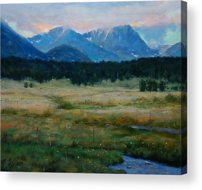 Landscape Acrylic Print featuring the painting Rocky Mountain National Park by Greg Clibon