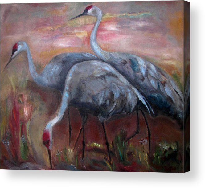 Sandhill Cranes Acrylic Print featuring the painting Sandhill Cranes by Susan Hanlon