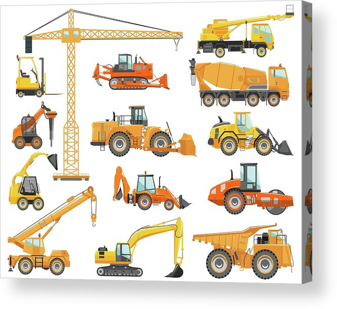 Hydraulic Platform Acrylic Print featuring the digital art Set Of Detailed Heavy Construction And by Alexyustus