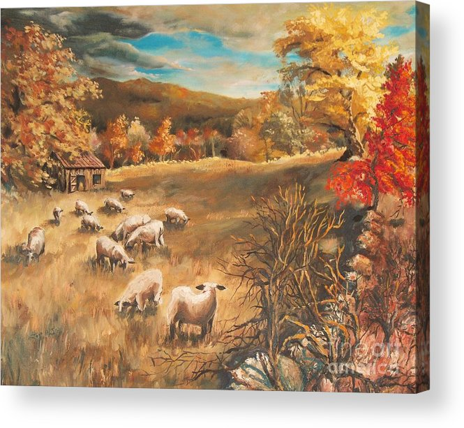 Oil Painting Acrylic Print featuring the painting Sheep in October's field by Joy Nichols