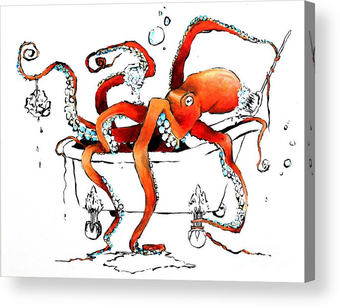 Octopus Acrylic Print featuring the painting Silly Octopus taking a bath by Arleana Holtzmann
