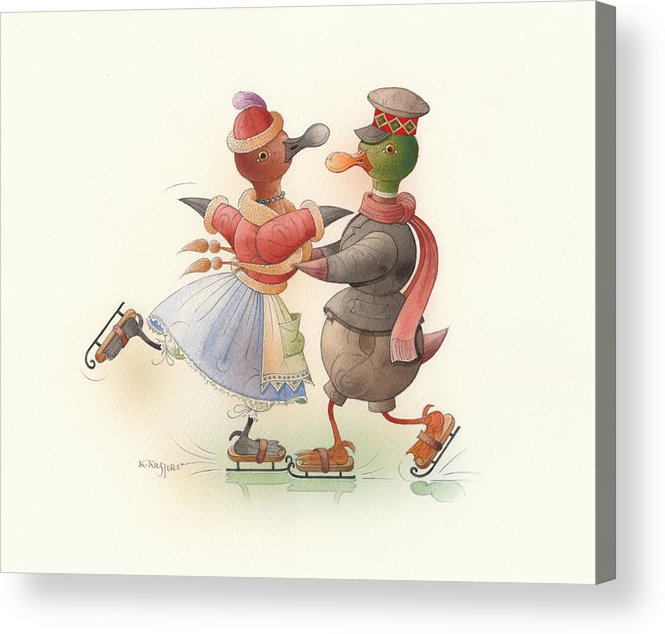 Christmas Winter Greeting Cards Ice Snow Dance Duck Holiday Acrylic Print featuring the painting Skating Ducks 9 by Kestutis Kasparavicius